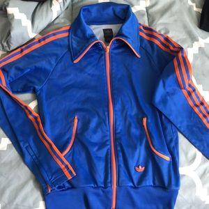 Blue and orange adidas Brasil track jacket